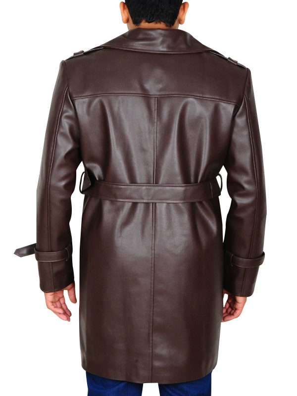 rorschach brown trench coat, rorschach brown leather coat,