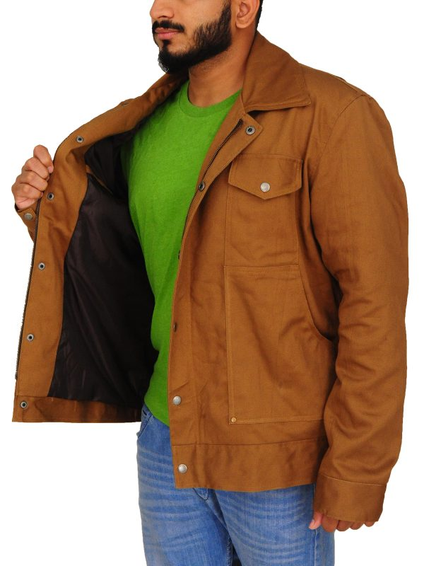 stylish brown cotton jacket, brown cotton men jacket,