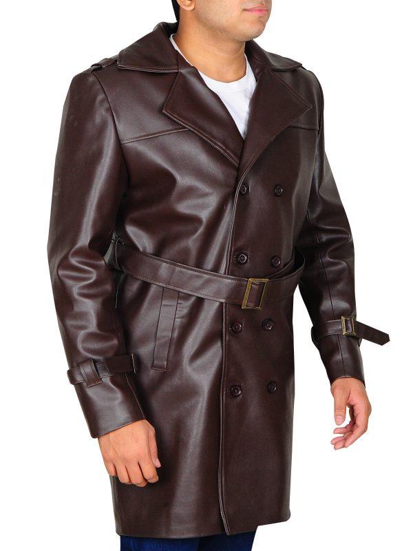 men brown leather coat, men brown trench coat,