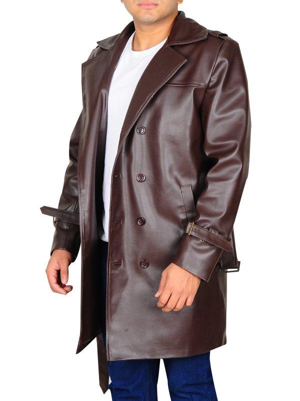 brown leather coat, brown tench coat,