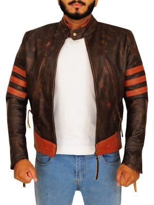 distressed brown wolverine jacket, distressed brown hugh jackman leather jacket,