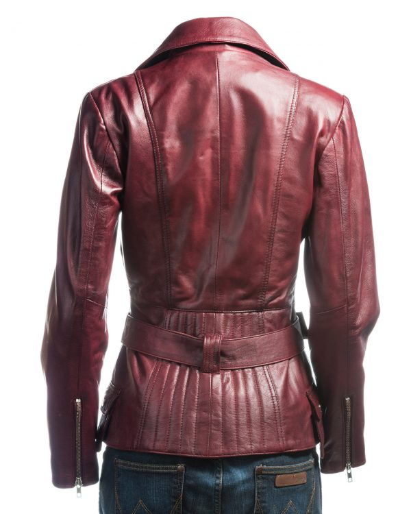 maroon women leather jacket, women maroon leather jacket,