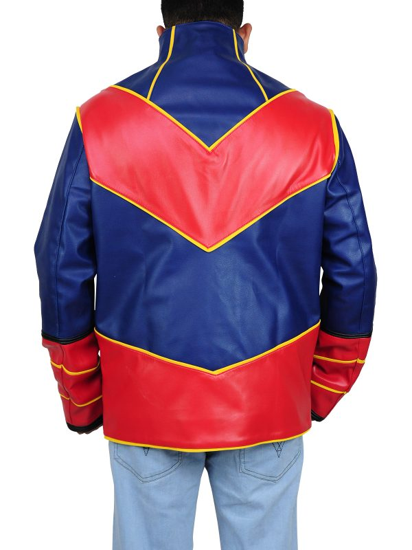 red and blue leather costume, blue and red leather costume,