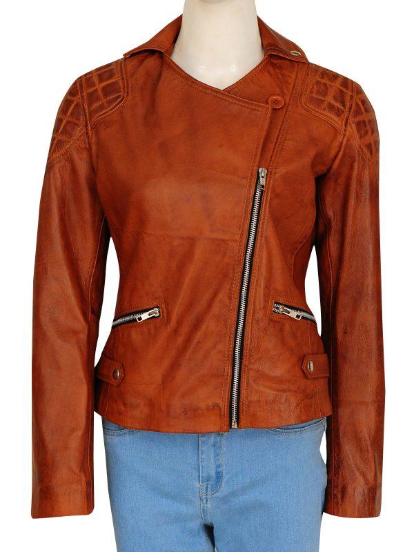women brown leather jacket, distressed brown female jacket,