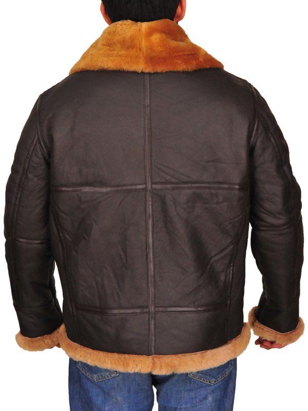 men aviator brown leather jacket, men aviator b3 jacket,