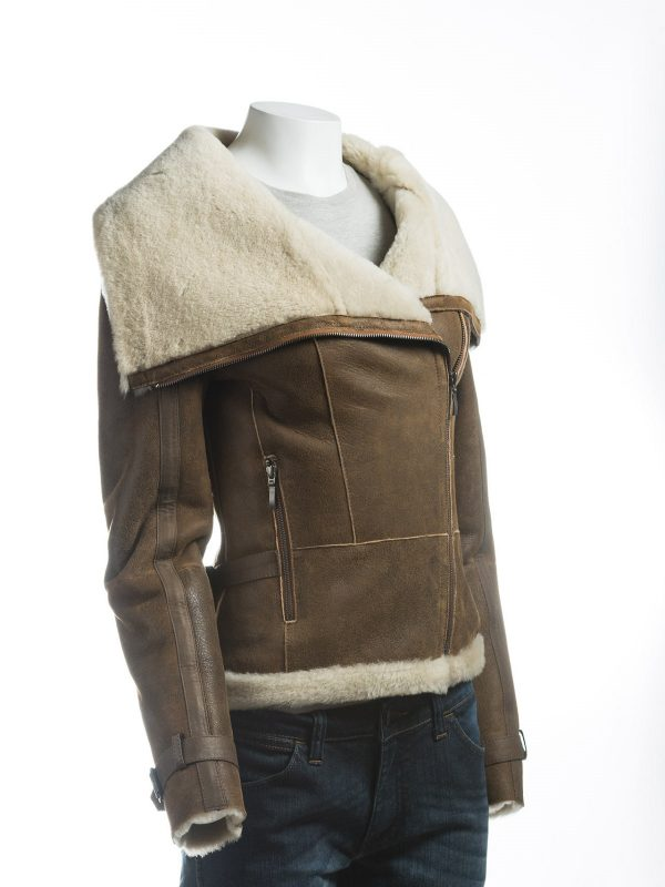 brown women shearling jacket, sheepskin leather jacket for women,