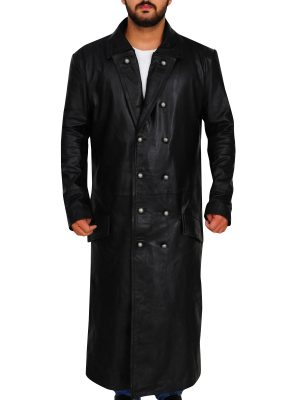 leather trench coat, black leather trench coat,