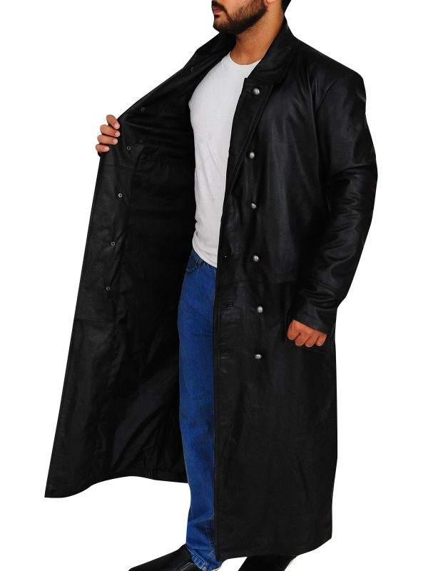 men leather trench coat, fashion leather trench coat,