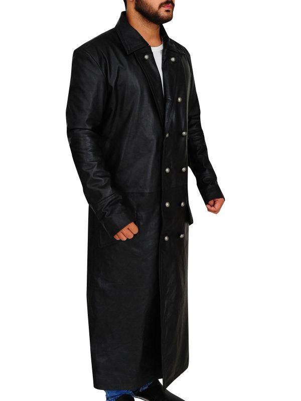 german leather trench coat, real leather trench coat,
