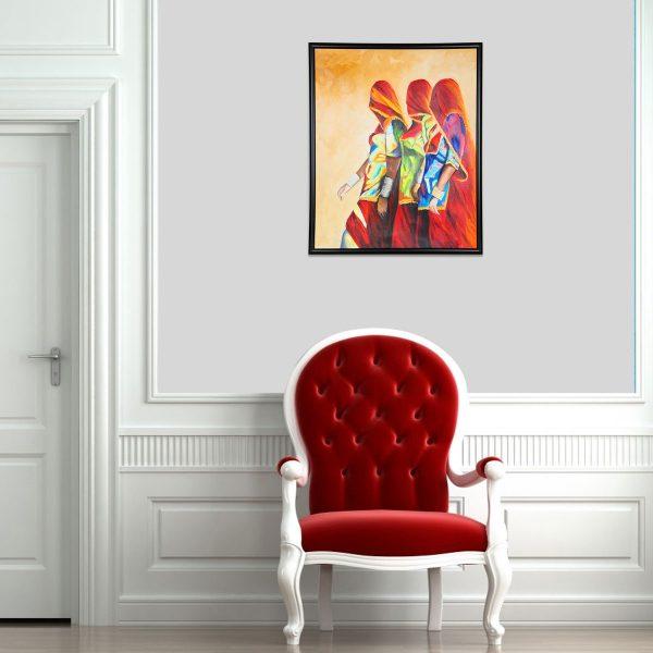 orange woman oil painting,
