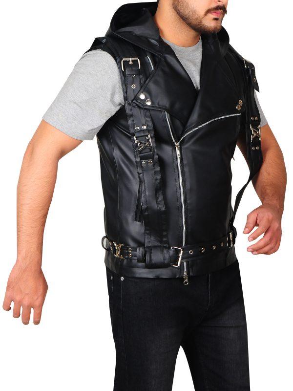 jamie campbell leather vest, black leather vest,