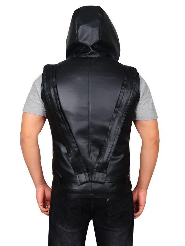 men black vest, men black leather vest,
