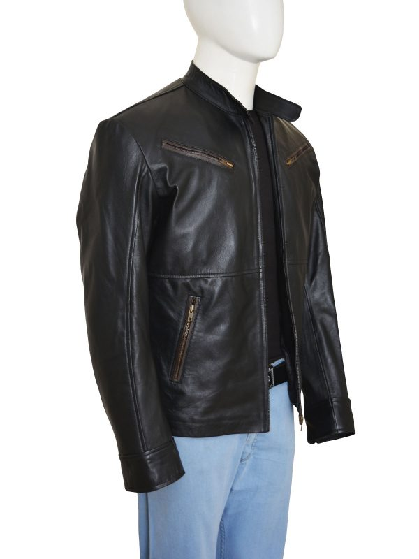 black men leather jacket, leather jacket in black,