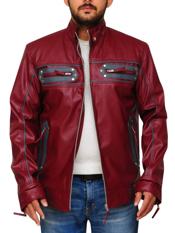 maroon leather jacket for men, men maroon leather jacket,