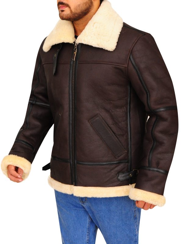 men real fur collar shearling leather jacket, men real fur brown leather jacket,
