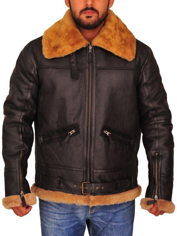 b3 aviator men leather jacket, b3 shearling men leather jacket,