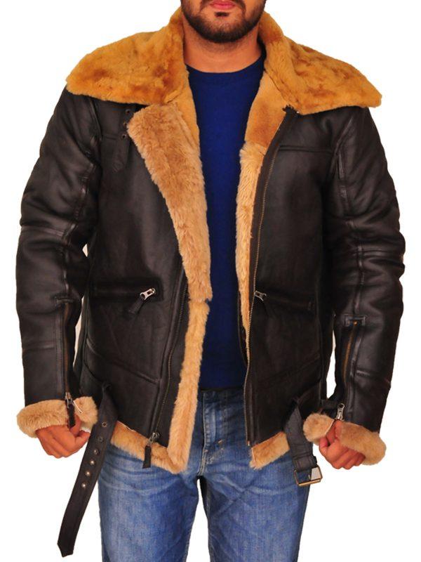 shearling leather jacket for men, b3 bomber sheepskin aviator jacket,