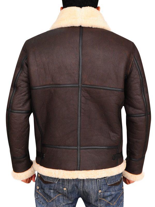 stylish shearling men leather jacket, b3 bomber browm men leather jacket,