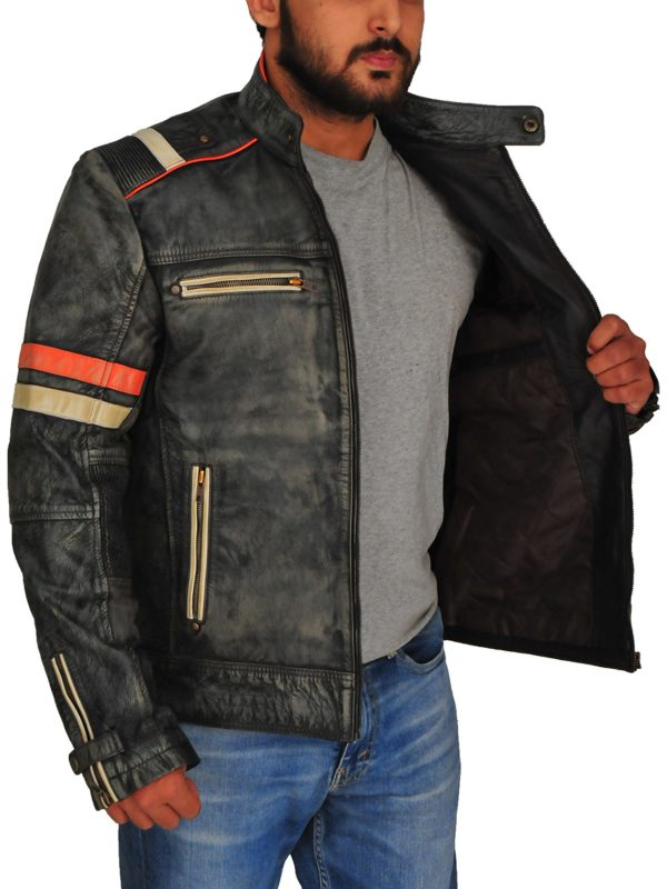 men grey biker leather jacket, biker leather jacket in grey,