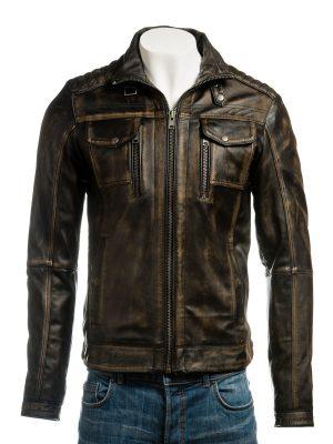 men retro biker leather jacket, men vintage biker leather jacket,