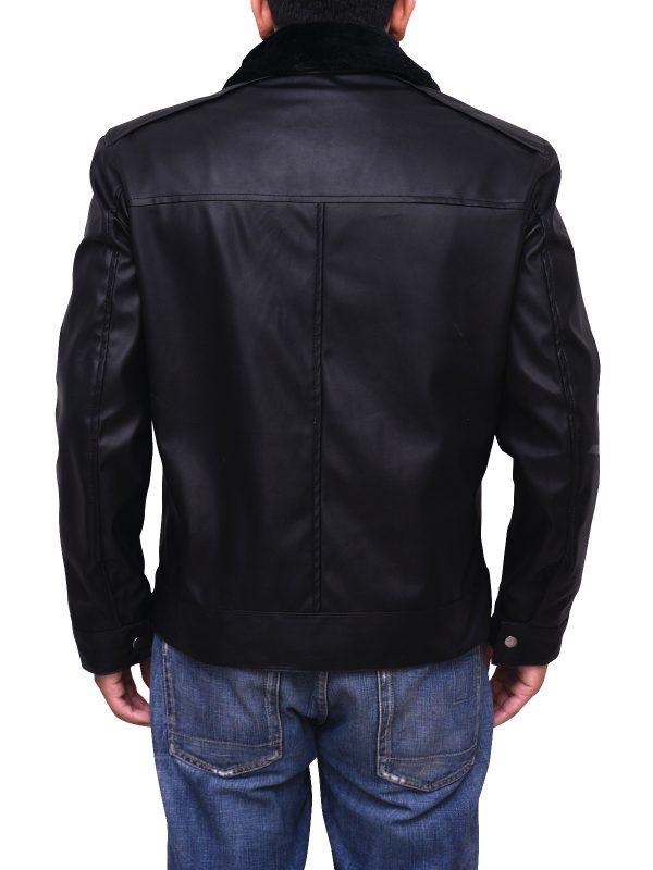 fashionable black leather jacket, attractive black men leather jacket,