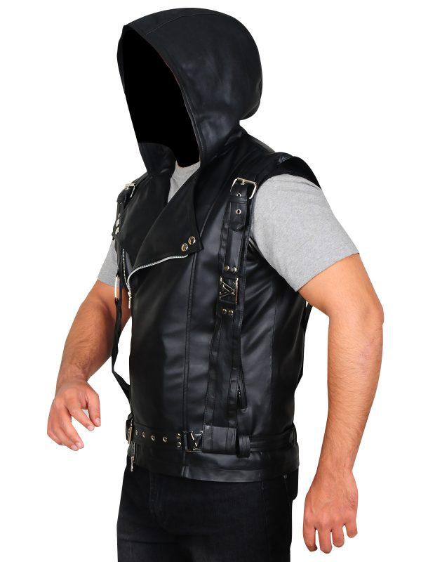 mortal instrument leather vest, hoodie leather vest,