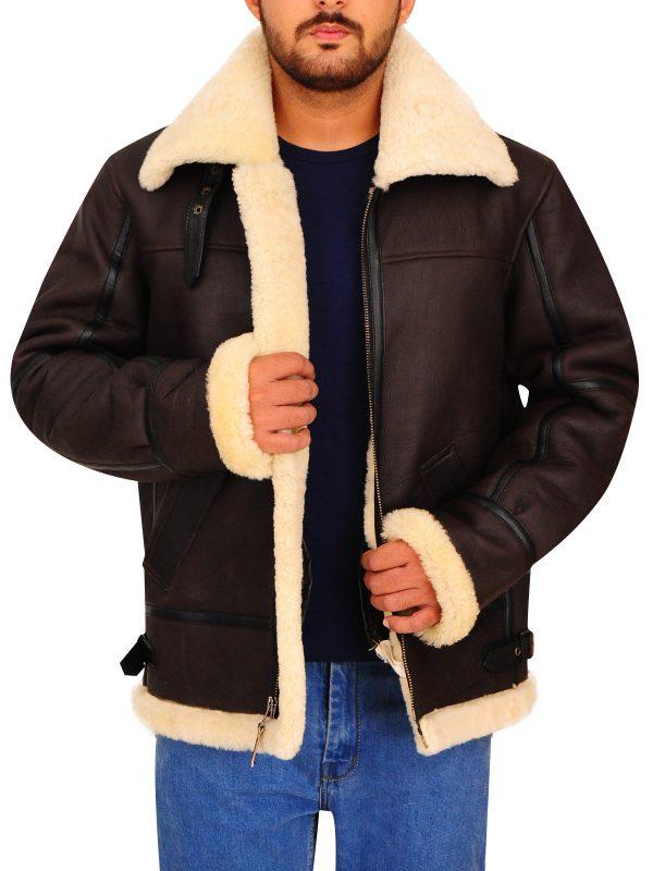 men brown shearling fur leatyher jacket, b3 bomber shearling leather jacket for men,
