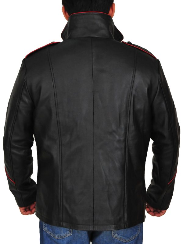 black cosplay leather jacket, meb black cosplay jacket,