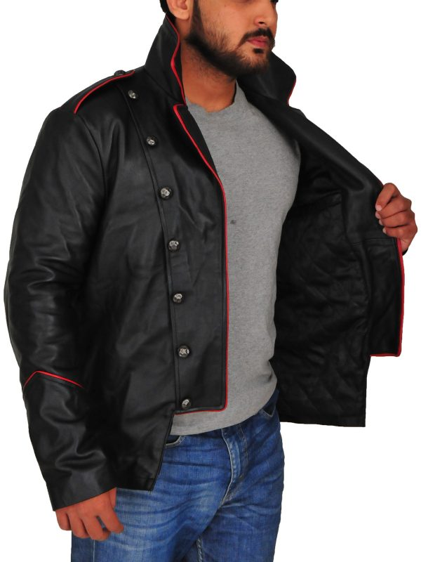 black cosplay costume jacket, men cosplay costume leather jacket,