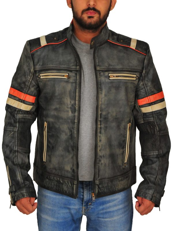 biker leather jacket for men, grey biker leather jacket for men,