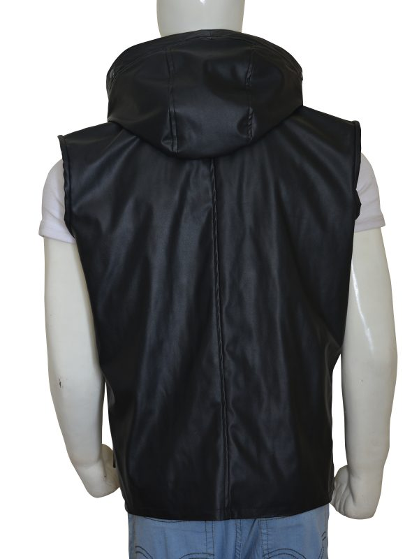 leather vest with hoodie, hoodie leather vest for men,