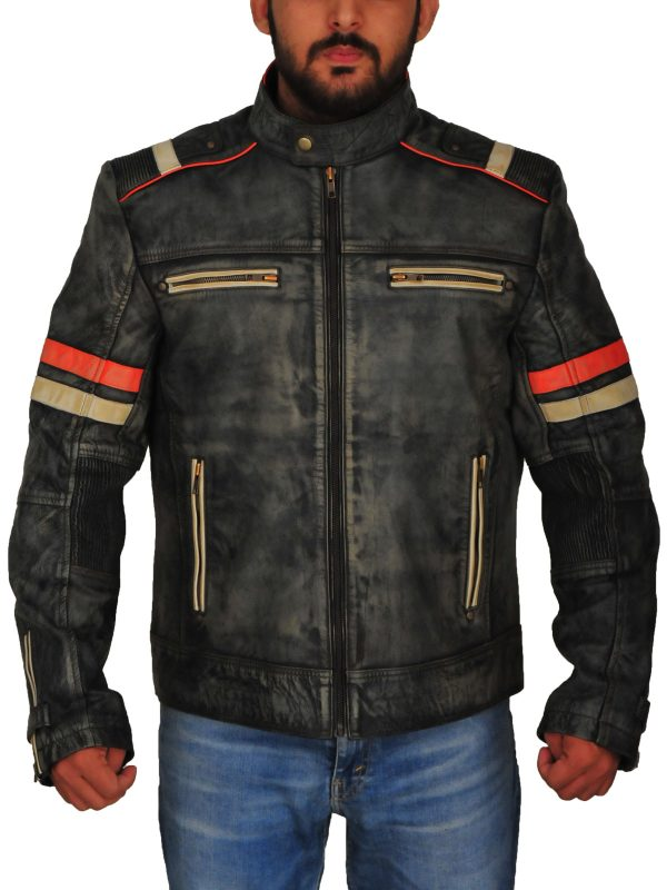 rough biker leather jacket, men rough retro biker jacket,