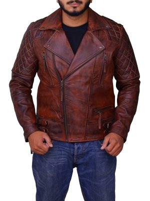 rusty brown men jacket, distressed brown men leather jacket,