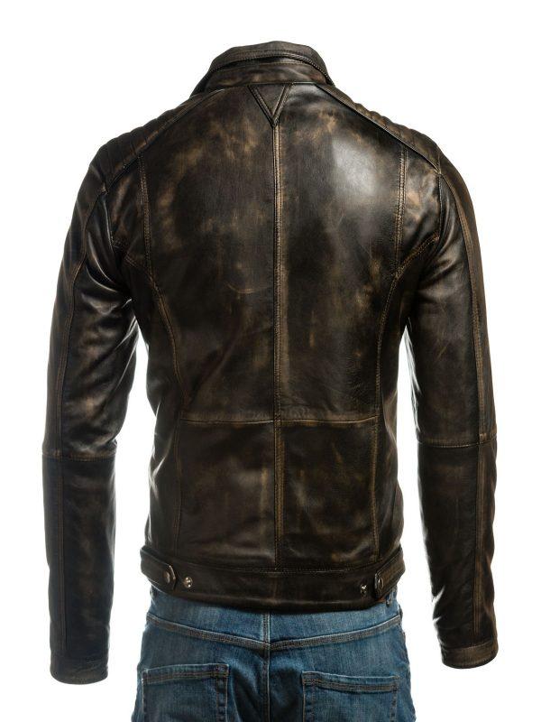 black vintage biker jacket, brown retro biker leather jacket,