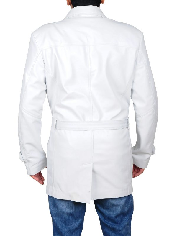 white leather coat for men, men white leather coat,