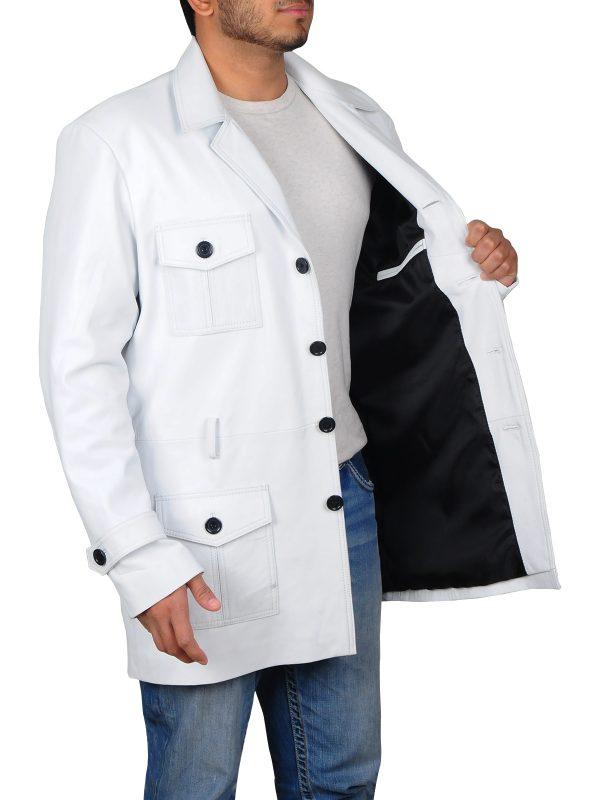 white leather jacket for men, men white leather jacket,
