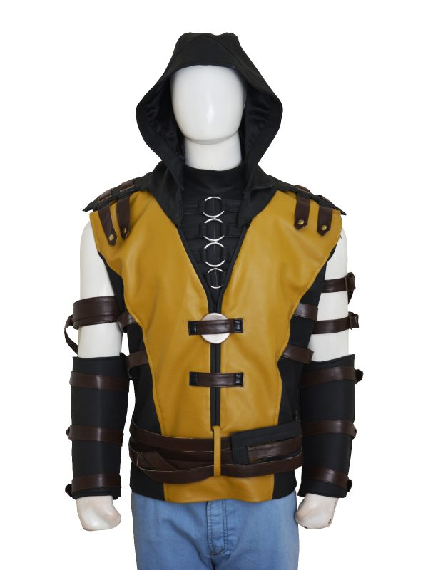 yellow gamer leather jacket, scorpion mortal combat jacket,