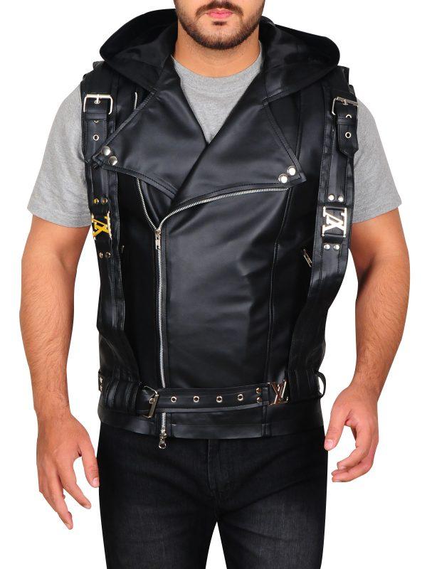 men hoodie leather vest, hoodie leather vest for men,