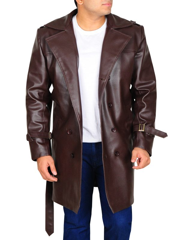 brown leather coat for men, brown leather trench coat for men,