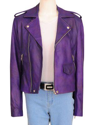 purple girl leather jacket, purple leather jacket for girls,