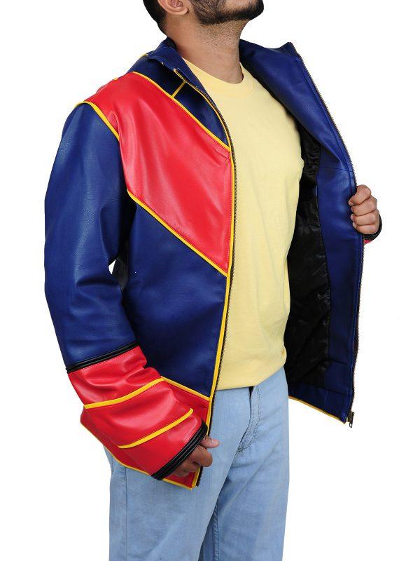 men biker leather jacket, men red and blue jacket,