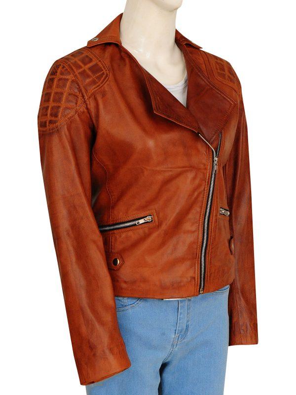 female brown leather jacket, vintage brown leather jacket,