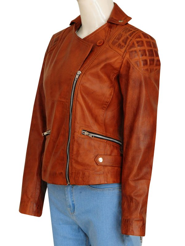 retro brown leather jacket, women retro leather jacket,