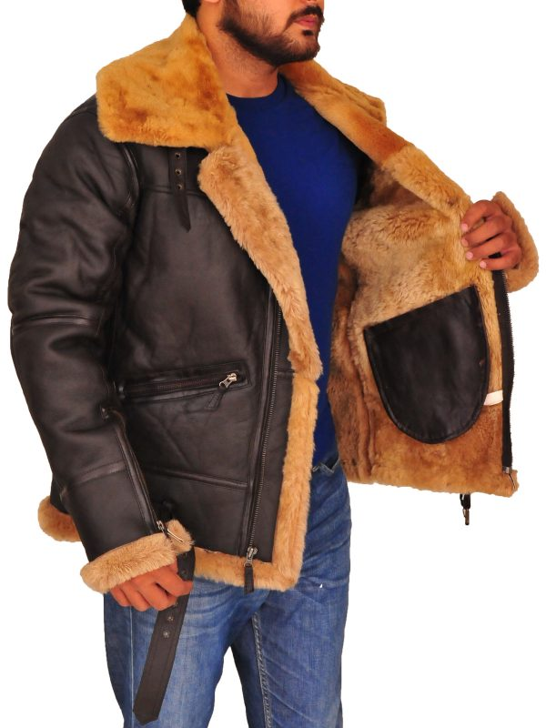 men sheepskin leather jacket, men brown b3 bomber leather jacket,