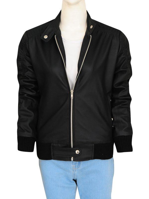 fashionable women leather jacket, black zipper women jacket,
