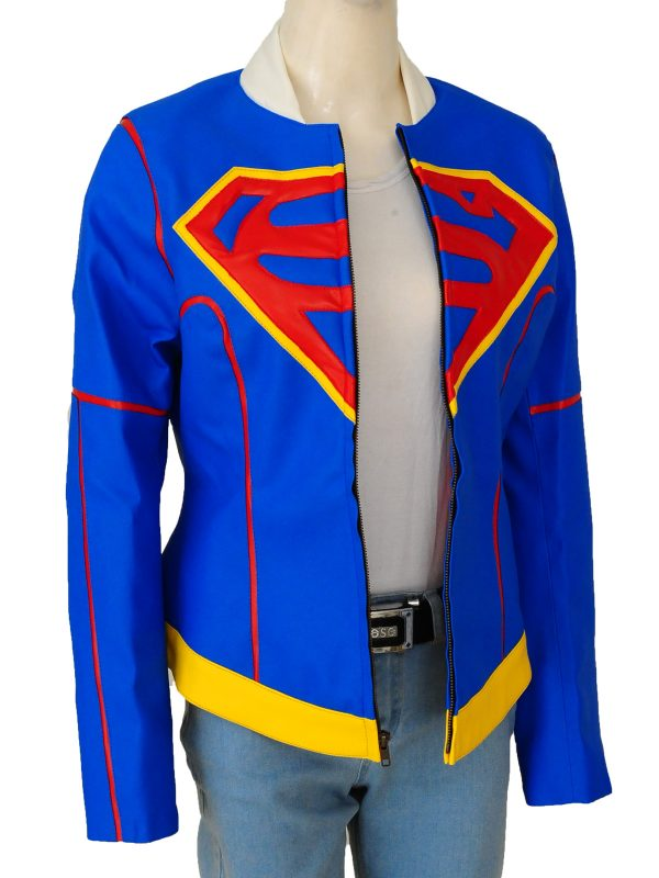 supergirl cosplay leather jacket, super girl leather costume,