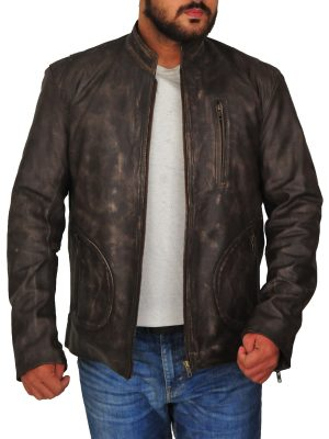 dwyane johnson rampage brown jacket, dwayne johnson distressed brown leather jacket,