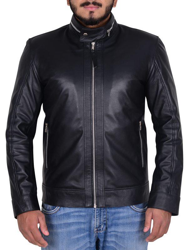 clebrity black leather jacket, hollywood actor black leather jacket,