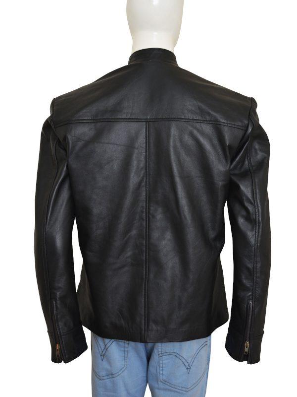 fashionable black leather jacket, black men leather jacket,