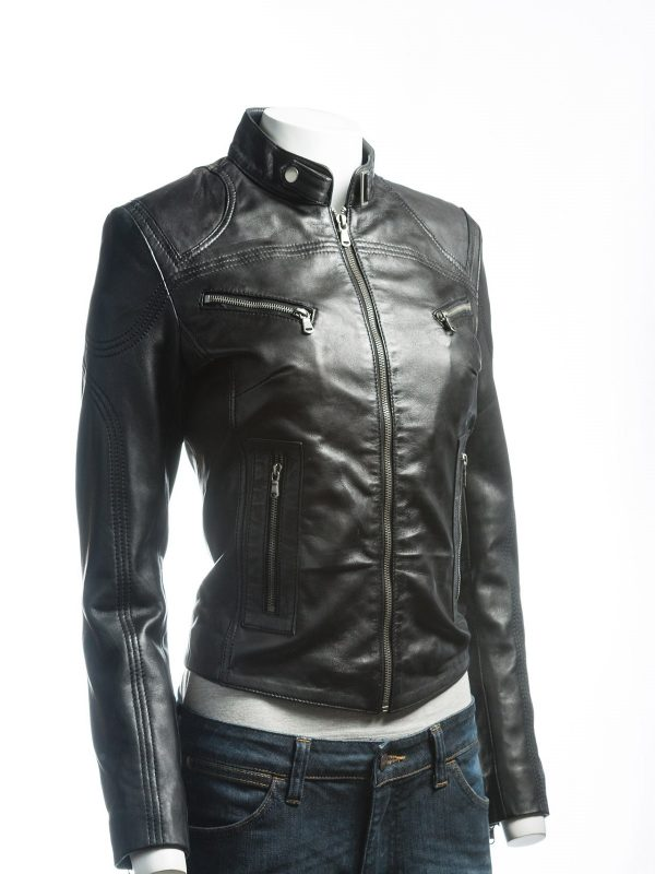 fashionable black women jacket, fashionable women black biker leather jacket,